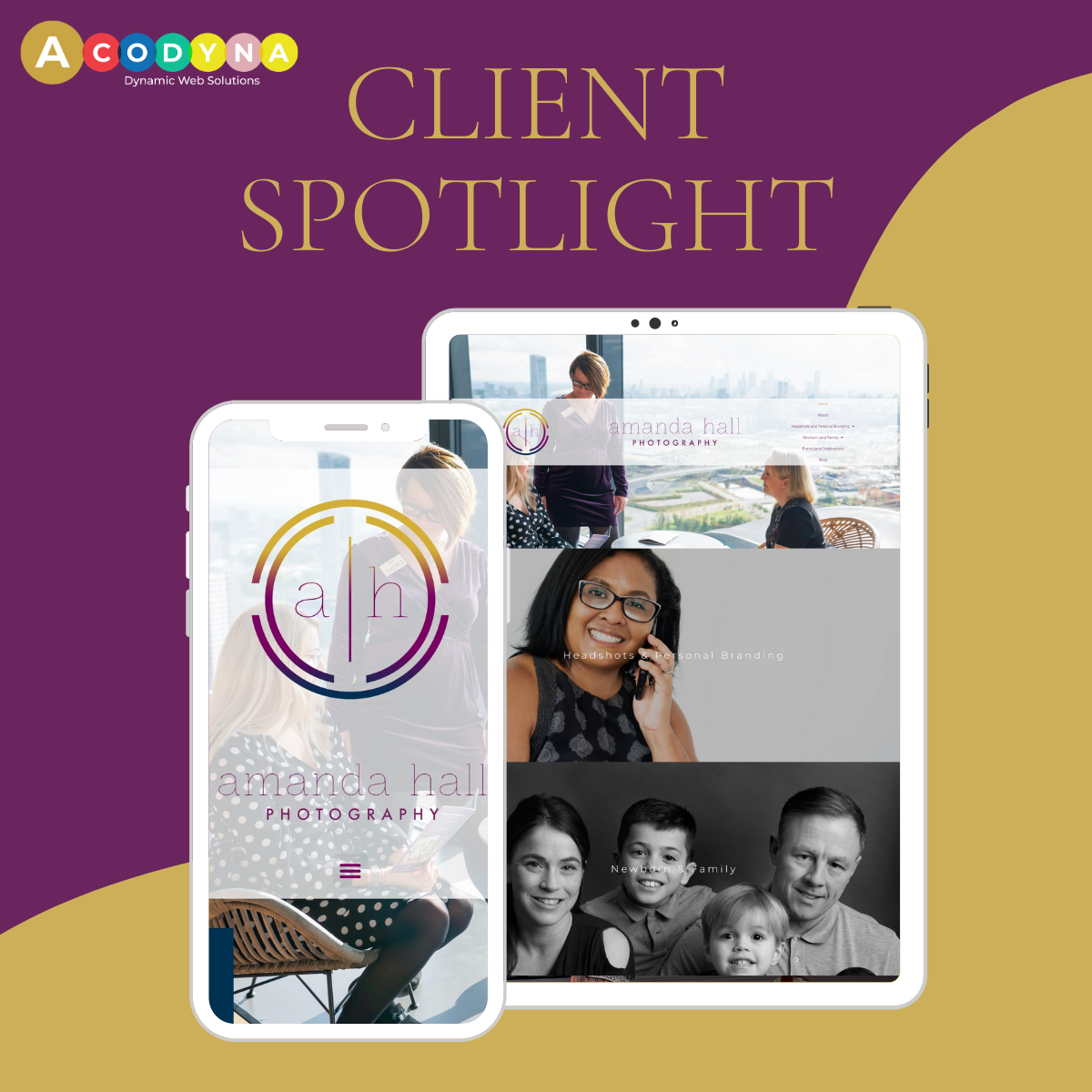 ACODYNA- Client Spotlight - Amanda Hall Photo-Website Project